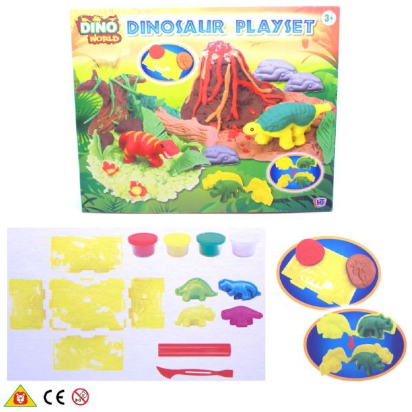 HTI Dino World Fun Dough Doh Dinosaur Modelling Playset Toy Age 3+ Yrs 1373211